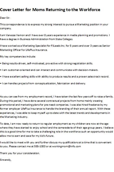 Cover letter for mom returning to work — Secretscondominium.ml